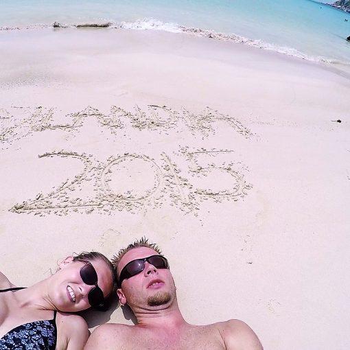 Tajlandia 2015 - podsumowanie podróży do Tajlandii na włansą rękę . Ujęcie z plaży Aow Leuk na wyspie Koh Tao.